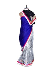 Blue And White Printed Art Silk Saree With Thread Embroidery Work, With Matching Blouse Piece - Saraswati