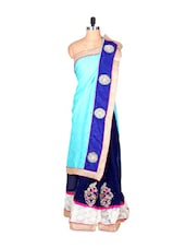 Sky Blue And Royal Blue Art Silk Saree With Thread Embroidery, With Matching Blouse Piece - Saraswati