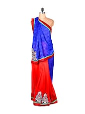 Blue And Red Art Silk Saree With Thread Embroidery, With Matching Blouse Piece - Saraswati