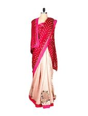 Red And Cream Art Silk Saree With Thread Embroidery Work, With Matching Blouse Piece - Saraswati
