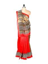 Red And Brown Bhagalpuri Art Silk Saree In Printed Fabric, With Matching Blouse Piece - Saraswati
