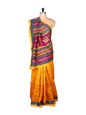 Yellow And Purple Bhagalpuri Art Silk Saree In Printed Fabric, With Matching Blouse Piece - Saraswati