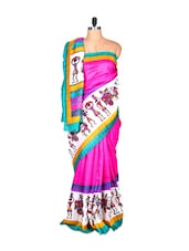 Multi-coloured Bhagalpuri Silk Saree In Printed Fabric, With Matching Blouse Piece - Saraswati