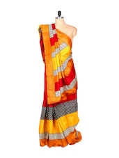Red, Orange And Yellow Bhagalpuri Silk Saree In Printed Fabric, With Matching Blouse Piece - Saraswati