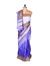 Blue And White Bhagalpuri Art Silk Printed Fabric Saree, With Matching Blouse Piece - Saraswati