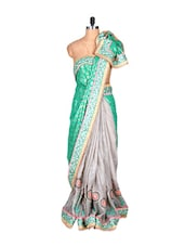 Green And Grey Silk Printed Fabric Saree, With Matching Blouse Piece - Saraswati