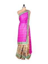 Pink And Cream Silk Sari With Zari Work, With Matching Blouse Piece - Saraswati