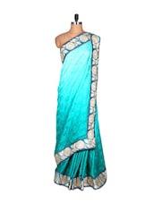 Blue Silk Sari With Thread Embroidery, With Matching Blouse Piece - Saraswati