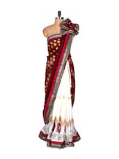 White And Maroon Silk Sari With Thread Embroidery, With Matching Blouse Piece - Saraswati