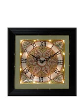Flower Decorated Marble Wall Clock - ECraftIndia