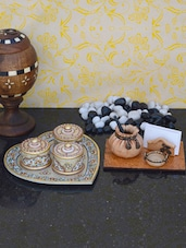 Decorative Heart Shaped Marble Tray Along With Handcrafted Pen Stand - ECraftIndia