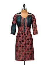 Red, Black And Blue Cotton Printed Kurta - Kaccha Taanka