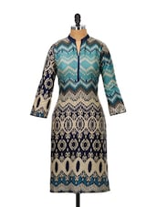 Blue And Beige Printed Kurta - Kaccha Taanka