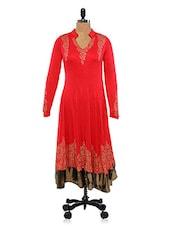 Women Red Mandarin Collar Gold Print Long Sleeve Anarkali Kurta - Ira Soleil
