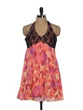 Black And Peach Short Halter Dress - Holidae