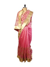 Pretty Pink Super Net Saree With Zari Embroidery, Patch Border And Matching Pink Blouse. - Drape Ethnic
