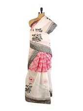 Stunning Off-White And Pink Super Net Saree With Resham Embroidery, Patch Border And Matching Grey Blouse. - Drape Ethnic