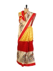 Graceful Yellow Super Net Saree With Resham Embroidery, Patch Border And A Matching Red Art Silk Blouse. - Drape Ethnic