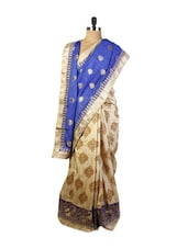 Graceful Blue And Beige Art Silk Saree With Zari Embroidery And Patch Border, Beige Art Silk Blouse. - Drape Ethnic