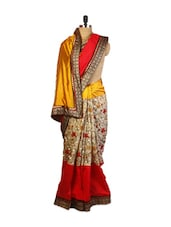 Elegant Mustard, Beige And Red Coloured Party Art Silk Saree With Resham Embroidery And Patch Border ,a  Tussar Art Silk Blouse. - Drape Ethnic