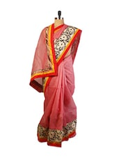 Pink  Benarasi Cotton Saree With Resham Embroidery Work , Patch Border And A Raw Silk Black And White Blouse. - Drape Ethnic