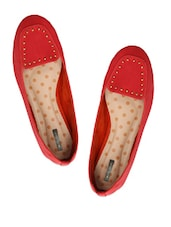 Red Loafers With Metal Stud Embellishments - Miss Chase