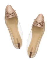 Pointy Brown Ballerinas With Transparent Side Detailing - Miss Chase