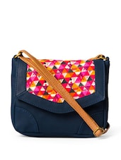 Trendy Navy Blue Crossbody Bag With Pink Triangular Prints Flap - DESI DRAMA QUEEN
