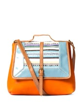 Stylish Orange Sling Bag With Blue Aztec Print Flap - DESI DRAMA QUEEN