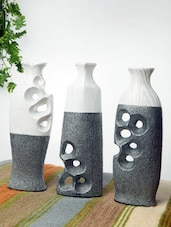 Speckled Silver And White Ceramic Vases(set Of 3) - Home Stopper