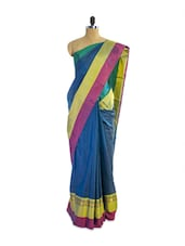 Fabulous Blue Silk Saree With Gorgeous Green And Pink Borders And Matching Blouse Piece - Pothys