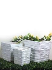 White Ceramic Planter (set Of 3) - Importwala