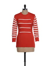 Trendy White And Red Woolen Top With Striped Sleeves - TAB91