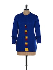 Blue Front Open Woolen Top With A Yellow Stripes - TAB91