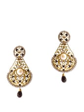 Beautiful And Stylish Gold Earrings With Black Stones - Rich Lady
