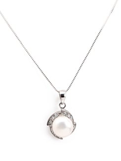 Sterling Silver Pearl Pendant - Tanya Rossi, Italy 9044
