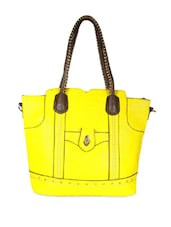 Yellow Tote Bag With Brown Handles - SATCHEL Bags