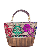 Raw Silk Multi-coloured Flower Print Tote Bag - SATCHEL Bags
