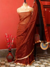 Red Rust Cotton Saree - Cotton Koleksi