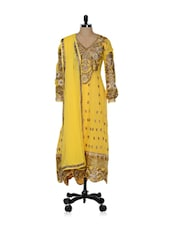 Yellow Heavily Embroidered Suit Set - Purple Oyster