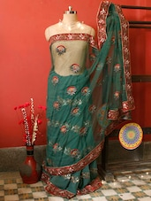 Green Embroidered Saree, With Matching Blouse Piece - Urvashi's