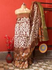 Multi-coloured Dupian Silk Floral Saree, With Matching Blouse Piece - Urvashi's