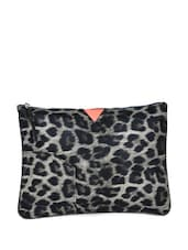 Black And Grey Leopard Print Large Pouch - HARP