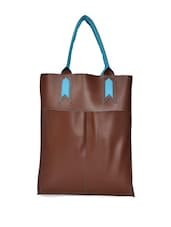 Brown Tote Bag With Blue Handles - HARP