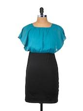 Blue And Black Ruffled Sleeved Dress - Besiva