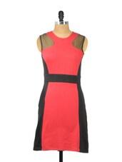 Red And Black Sleeveless Dress - Besiva