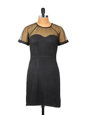 Plain Black Dress With Transparent Neck And Sleeves - Besiva