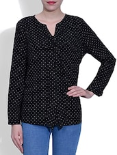 Black Polyester Plain Long Sleeved Top - By
