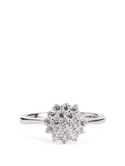 Sterling Silver Diamond Ring - Tanya Rossi, Italy 9056