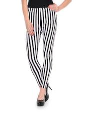White And Black Striped Leggings - FLUR